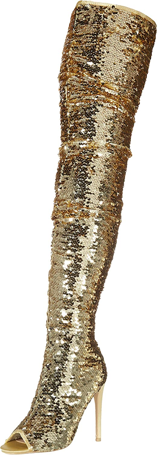 Womens Bling Max 55% OFF Peep Toe Max 52% OFF Thigh High Slouch Zipper Stil Boots Sequin