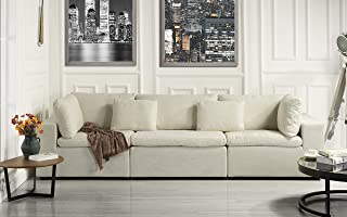 Large Classic Living Room Linen Fabric Sofa, 111.8
