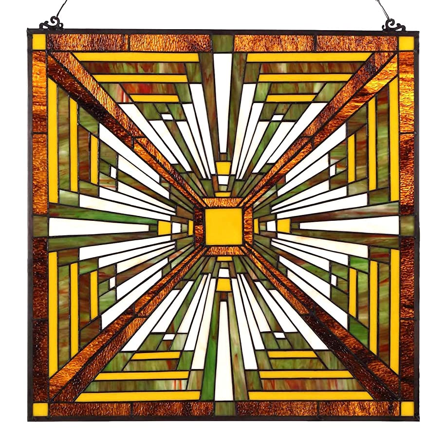 Bieye W10023 24 inches Pharaoh's Jeweled Tiffany Style Stained Glass Window Panel with Hanging Chain