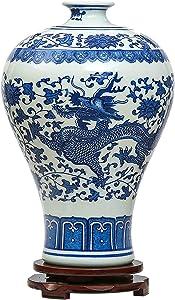 ufengke Jingdezhen Jarrón De Porcelana Azul Y Blanco, Dragón Chino Y Flor Del Ciruelo, Jarrones Chinos Jarrónes Antiguos Jarrón Decorativo, Para La Boda, La Familia Y La Oficina
