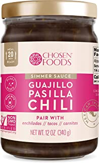 Chosen Foods Guajillo Pasilla Chili Simmer Sauce 12 oz., Made with Avocado Oil, Ready to Cook for Healthy Meal Starters and Quick Dinners, Inspired by Mexican Cuisine