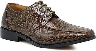 Enzo Men`s Gator Crocodile Print Dress Shoes