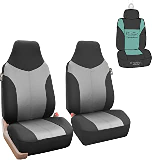 FH Group FB101115 Supreme Twill Fabric High-Back Pair Set Car Seat Covers, Airbag Compatible, Gray/Black Color with Gift - Universal Car, Truck, SUV, or Van