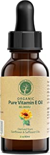 Vitamin E Oil Pure Organic d-Alpha tocopherol 60,000 IU - 2 Ounce, Derived from Non-GMO Sunflower/Safflower Oil, Soy-Free ...