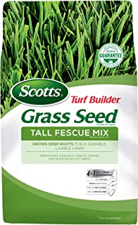 Scotts Turf Builder Grass Seed Tall Fescue Mix, 3 lb. - Full Sun and Partial Shade - Resists Heat and Drought, Insects, Disease and Helps Crowd Out Weeds - Seeds up to 750 sq. ft.