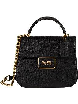 코치 사첼백 COACH Soft Pebble Leather Alie Top Handle,Black