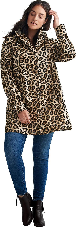 ellos Women's Plus Size Animal Print Hooded Raincoat