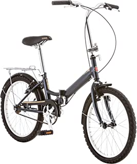 Schwinn Hinge Folding Bike, Great for Urban Riding and Commuting, Featuring Low Step-Through Steel Frame, Single-Speed Drivetrain, Front and Rear Fenders, Rear Rack, Carrying Bag, and 20-Inch Wheels