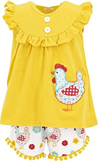 Unique Baby Girls Rooster Tunic Summer Outfit Pom Pom Short Set