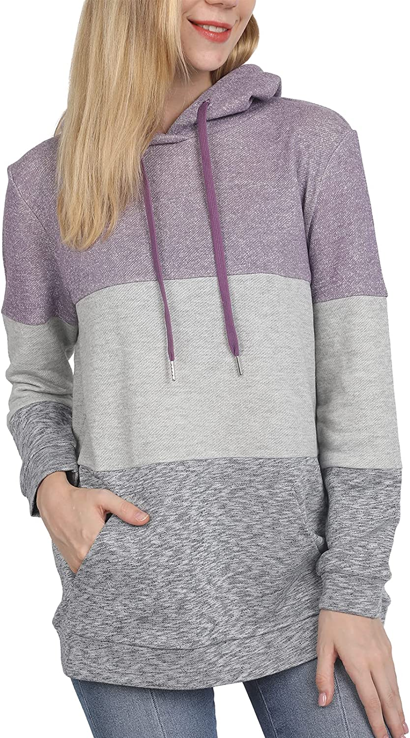 Women's Sweatshirt Hoodies Long Sleeve Colorblock Drawstring Loose Fit Casual Fall Winter Pullover Tunic Top with Pocket