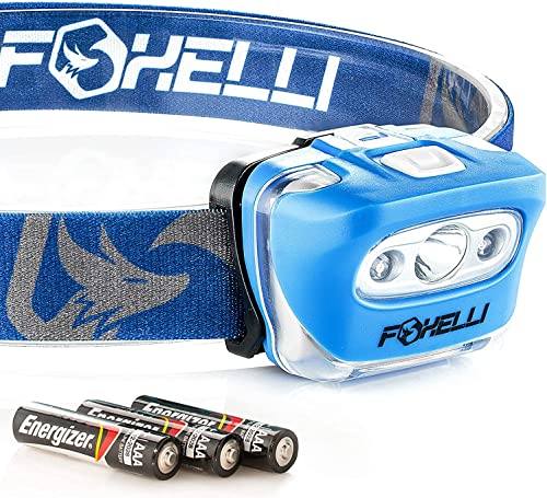 Foxelli LED Headlamp Flashlight for Adults & Kids, Camping, Hiking, Running, Outdoor Head Lamp with Red Light, Lightw...