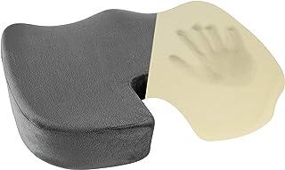 Healthy Spirit Memory Foam Seat Cushion   Tailbone Relief Cushion Office Chair Car Seat Cushion Sciatica Back Pain, Gray