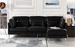 Modern Leather Sectional Sofa, L Shape Couch (Black)