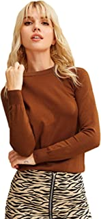 SweatyRocks Women's Casual Solid Basic Round Neck Long Sleeve Knit Sweater Top