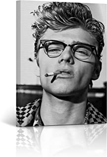 Handsome James Dean Iconic Glasses and Cigarette Black and White Wall Art Icon Art Canvas Print Home Decor Wrapped and Stretched - Ready to Hang -%100 Handmade in The USA - 12x8