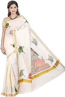 cream cotton kerala kasavu Printed MURAL ART work saree with Attached Blouse