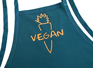 Vegan Cooking Aprons For Women And Men, Hunter Green, Fully Adjustable, Two Pockets, Extra Long Ties