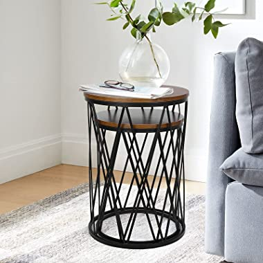 Nesting End Table - Set of 2 Small Round Coffee Table, Modern Accent Side Table with Wood Veneer Top and Sturdy Metal Frame f