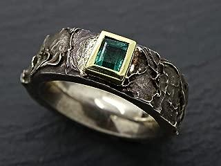 mens emerald ring gold silver, celtic wedding ring for him, mens engagement ring, mens wedding band emerald, mens pinkie ring molten silver