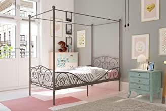 Girl's Grey Metal Canopy Bed Twin Sized Princess Grey Frame Vintage Antique French Country Victorian Style Kids Bedroom Fu...
