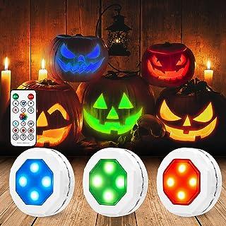 Litake Halloween Jack-O-Lantern Lights, Dimmable RGB Color Changing Pumpkin Lights,Remote Control LED Pumpkin Lights with ...