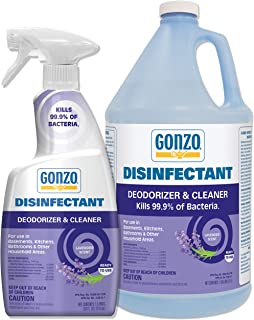 Gonzo Natural Magic Disinfectant Spray & Multipurpose Cleaner - Lavender Value Pack 24 oz. and 128 oz. Refill - Odor Elimi...