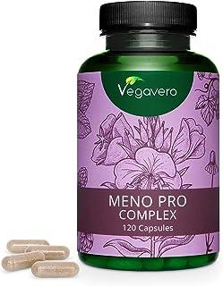 Suplemento Menopausia Vegavero® | Lúpulo + Aceite de Onagra + Salvia + Manzanilla + Melisa | 120 Cápsulas | Sofocos + Sudoración + Dolor de Cabeza | Sin Aditivos | Para Mujer | Meno Pro Complex