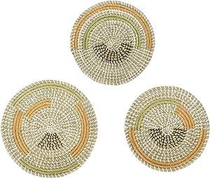 Emlee Boho Basket Wall Decor – Decorative Rattan hanging Wall Art - Handcrafted Natural Basket for Home Decoration, Living Room, Bedroom, Kitchen, Hallway, Entry Table - Set of 3 Baskets