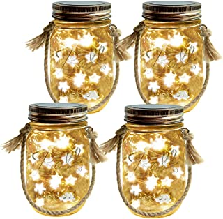Homeleo 4-Pack Solar-Powered Mason Jar Lights Kits(Lid Lights,Mason Jars,Hangers Included),LED Star Fairy Firefly Vintage Jar Lights Set for Christmas Decoration Outdoor Garden Yard Patio Path Decor