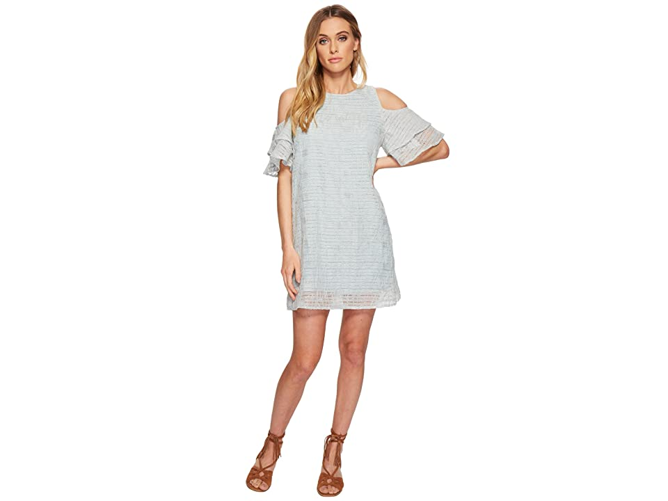 J.O.A. Tiered Sleeve Cold Shoulder Shift Dress (Mint) Women
