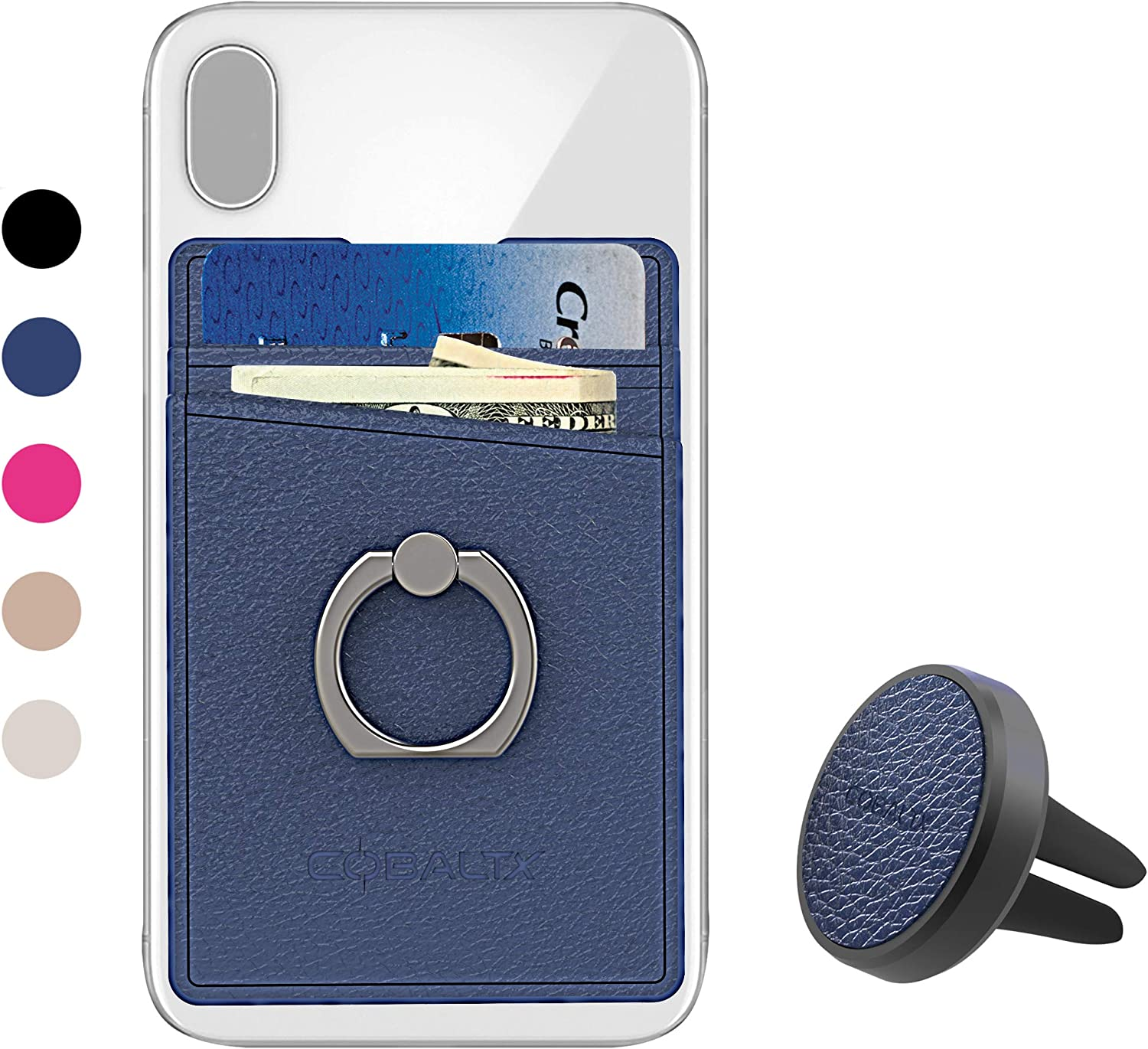 COBALTX Leather Cell Phone Ring Wallet Adhesive and Matching Magnetic car Vent Mount Card Holder Back of Phone All in one Combo Wallet Ring Grip Kick Stand Phone Wallet Stick on with Ring Black2