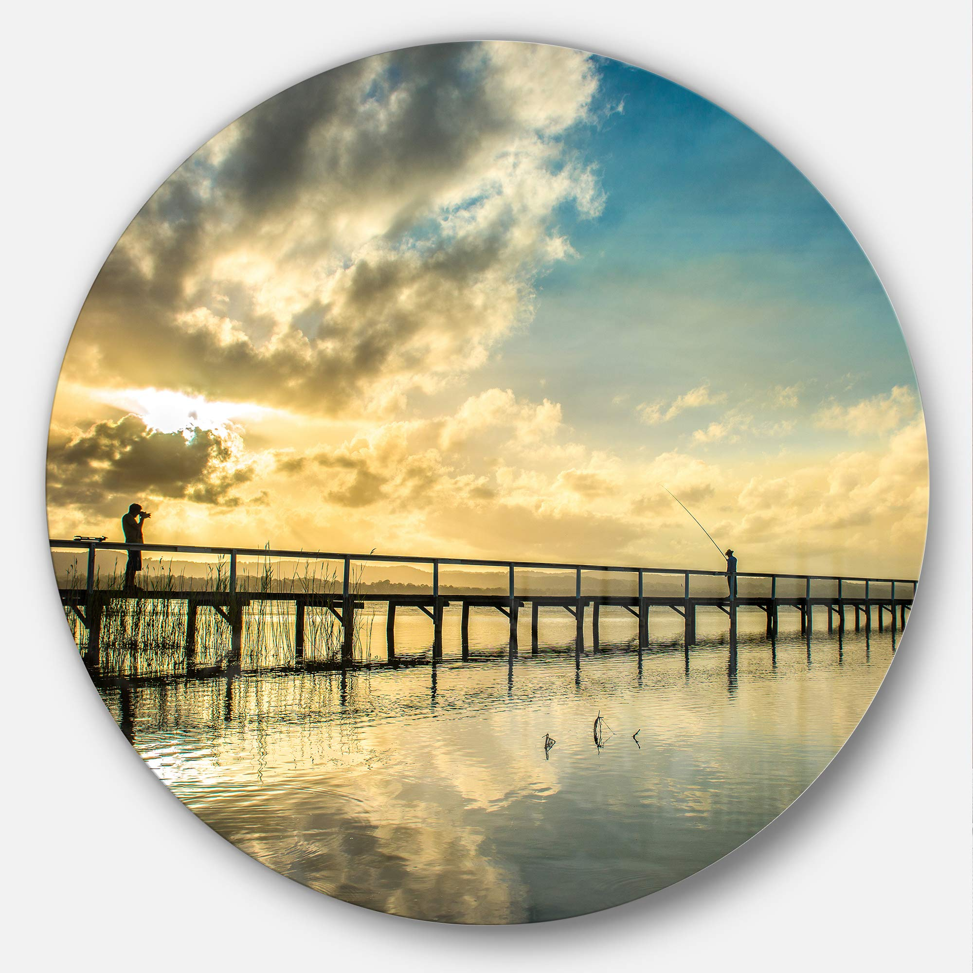 Designart Mt10218 C23 Long Jetty Foreshore Reserve With Clouds Sea Bridge Circle Wall Art Disc 23 X 23 Blue Buy Online At Best Price In Uae Amazon Ae