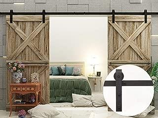 VANCLEEF 5-16FT Antique Double Barn Wood Door Hardware Track Rail Kit, Classic Design Roller, Black Rustic, for Bathroom, Bedroom, Closet, Interior and Exterior Use (8FT Double Door Kit)
