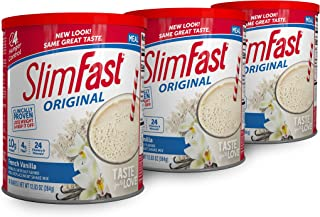 SlimFast Original French Vanilla Meal Replacement Shake Mix – Weight Loss Powder – 12.83 Oz. - 14 Servings (Pack Of 3) - P...