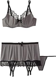 Fantasy Lingerie Women s Plus Size Eyelash Lace Trim Bra Matching Gartered  Skirt   G-String 7cd0d509a