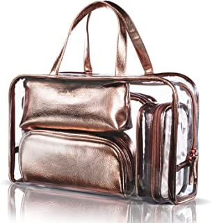 NiceEbag 5 in 1 Cosmetic Bag & Case Portable Carry on Travel Toiletry Bag Clear PVC Makeup Quart Luggage Pouch Handbag Organizer for Men and Women (Rose Gold)