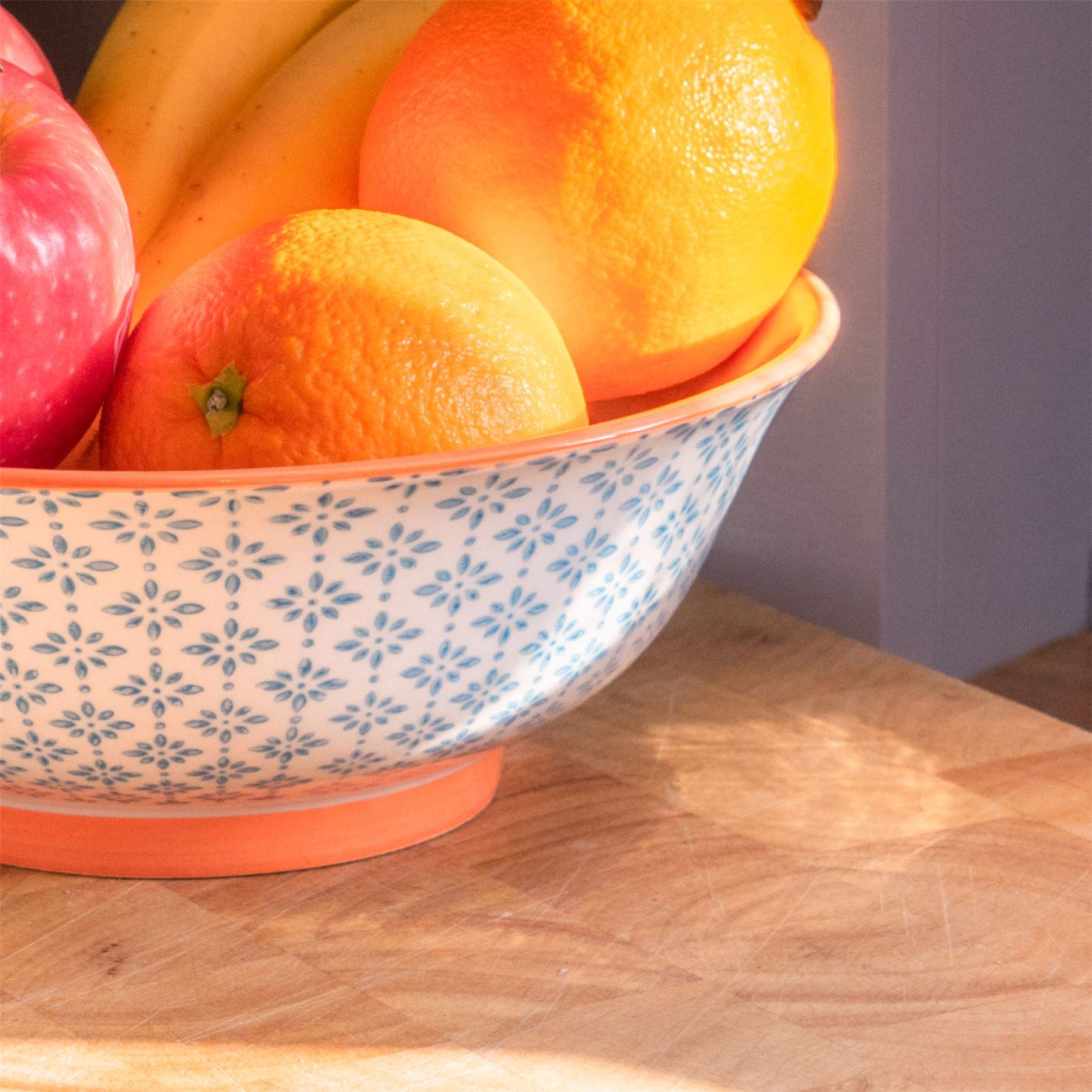 in Ceramica Nicola Spring Ciotola Ampia per Insalata e Frutta Diametro 203 mm Blu//Arancione