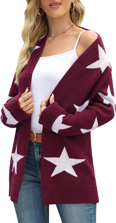 Lady Rabbit Womens Lightweight Star Pattern Color-Block Split Knit Cardigans Plus Size Long Sleeve Open Front Sweater