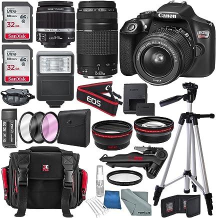 Canon EOS Rebel T6DSLR cámara con lente EF-S 18–55mm f/3.5–5.6IS II, EF 75–300mm f/4–5.6III, total de 64GB, trípode superior Xpix, paño FiberTique y conjunto de accesorios