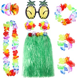 8 Pieces Hawaiian Hula Grass Skirt Set with Necklace Bracelets Headband Flower Bikini Top Hair Clip and Pineapple Sunglasses Party Decoration (Green)