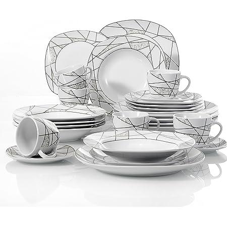 VEWEET Serina 30pcs Service de Table Porcelaine 6pcs Assiette Plate/Assiette à Dessert/Assiette Creuse/Tasse avec Soucoupes pour 6 Personnes Vaisselles Céramique Cuisine Maison Cadeau Fête