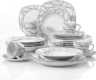 VEWEET Serina 30pcs Service de Table Porcelaine 6pcs Assiette Plate/Assiette à Dessert/Assiette Creuse/Tasse avec Soucoupe...