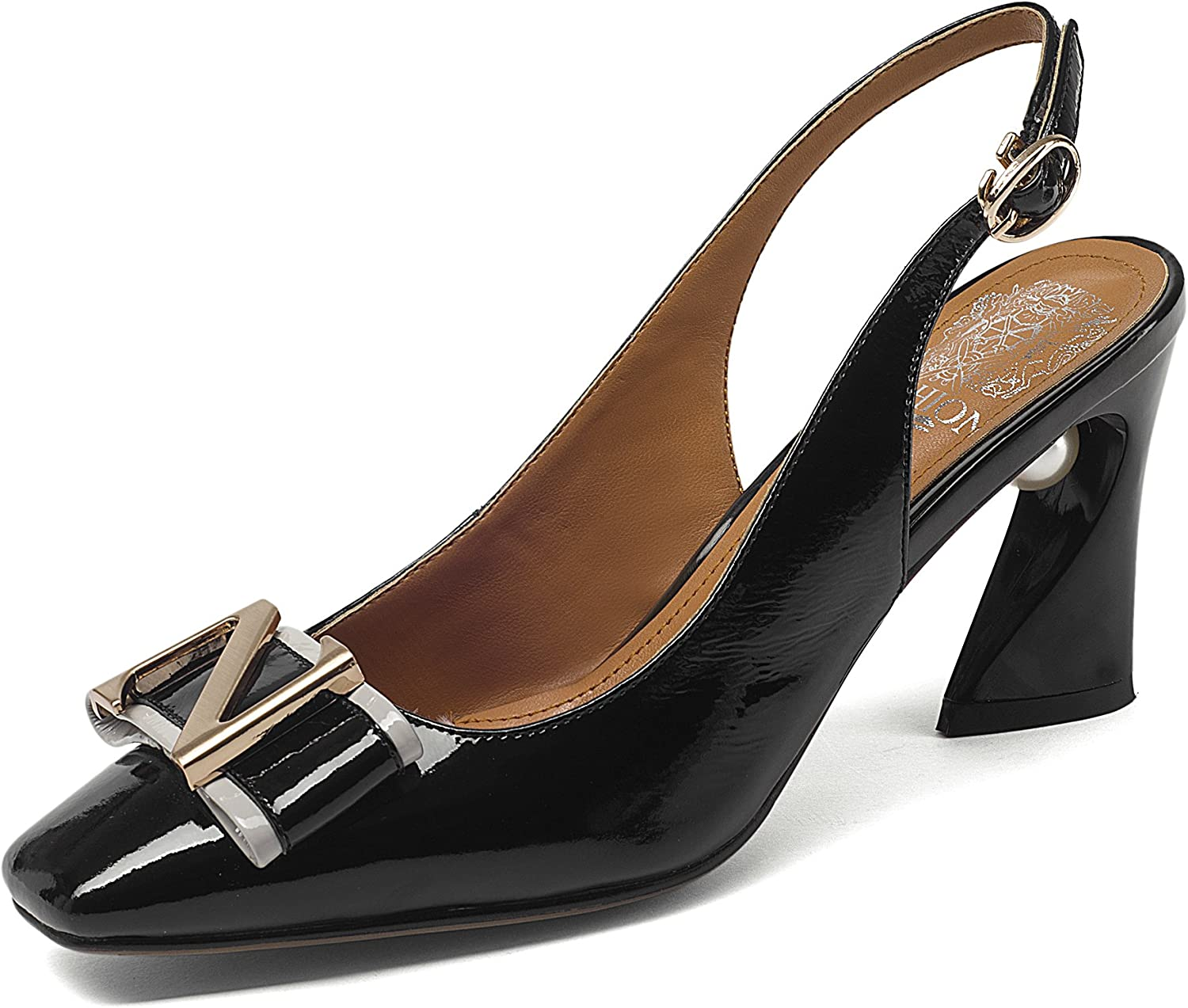 Nine Seven Women's High Chunky Heels, Square Toe Comfort Handmade Slingback Pumps with Pearl and Metallic Detail