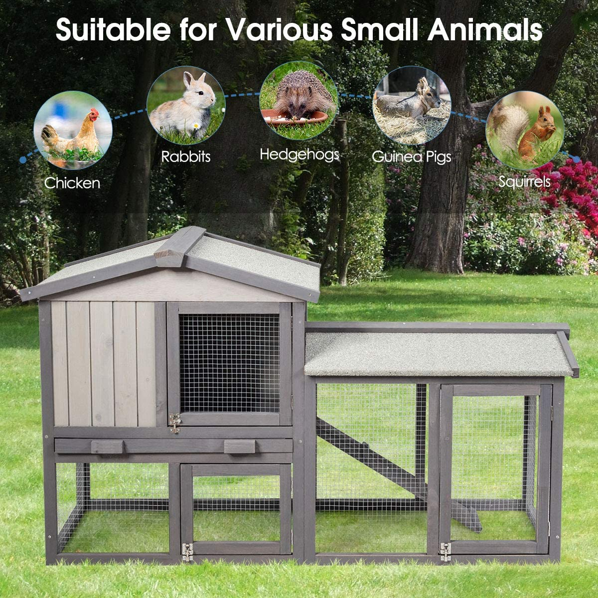 Buy Tangkula Rabbit Hutch Indoor and Outdoor, 20 Inch Bunny Cage ...