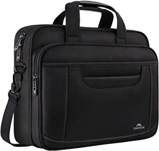 MATEIN Laptop Briefcase, 15.6 Inch Laptop Bag, Business Office Bag for Men Women, Stylish Nylon Multi-Functional Shoulder Messenger Bag for Notebook Computer MacBook Acer HP Dell Lenovo, Black