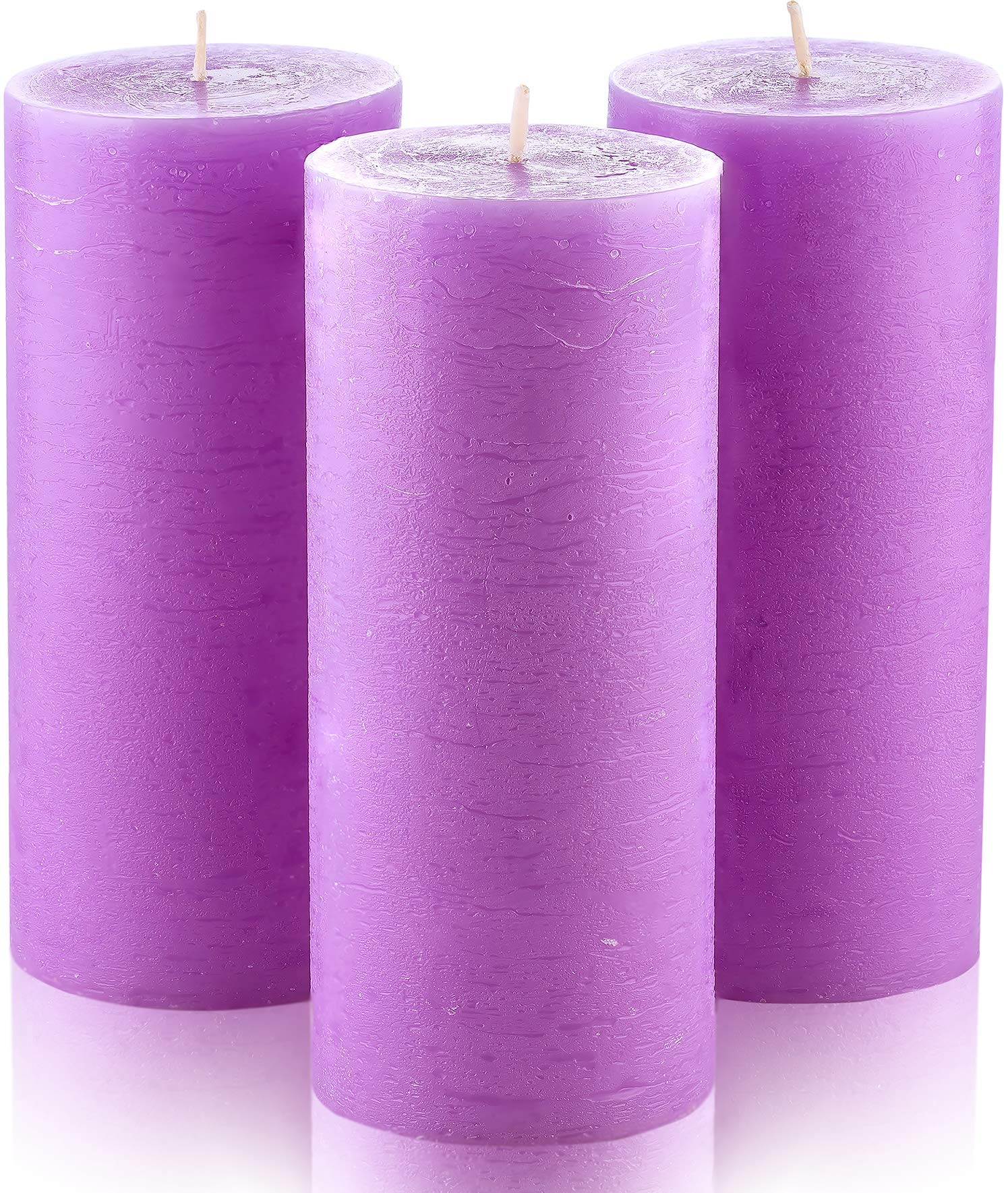 """Melt Candle Company Set of 3 Lilac Pillar Candles 3"""" x 6"""" Unscented Purple Violet Lavender Color for Weddings Home Decoration Restaurant Spa Smokeless Cotton Wick"""