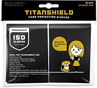 TitanShield (150 Sleeves/Black) Small Japanese Sized Trading Card Sleeves Deck Protector for Yu-Gi-Oh, Cardfight!! Vanguard & More