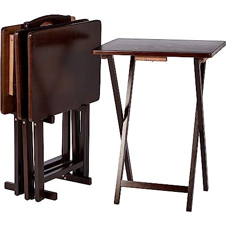 Amazon Basics Ensemble de 4 tables-plateaux de télévision classiques avec support Marron expresso