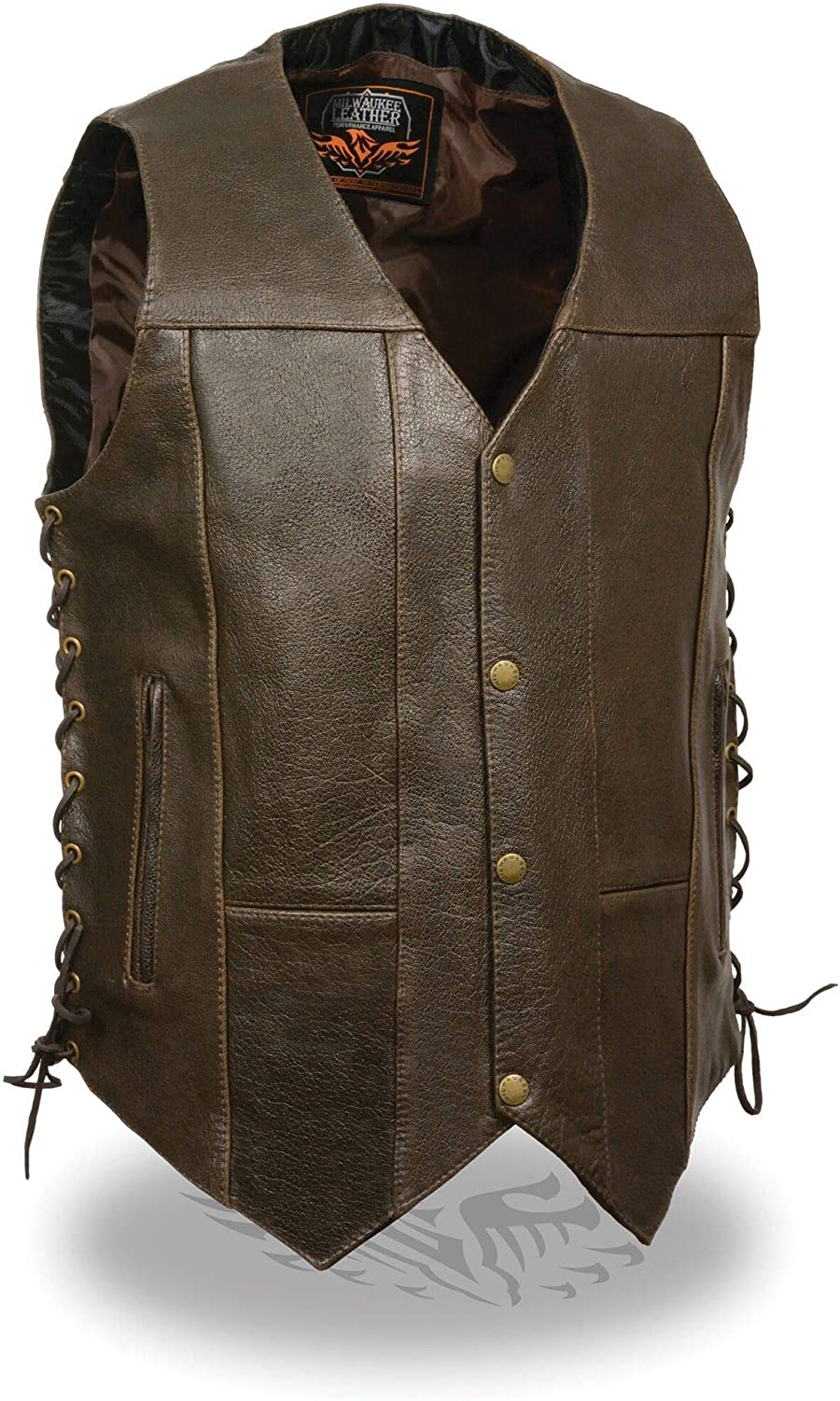 Milwaukee Leather ML1391RT Men's 10 Pocket Side Lace Retro Brown Leather Vest - Brown / 48-48