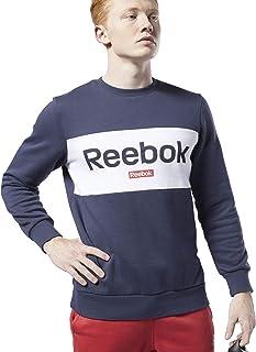 سترة سويت شيرت للرجال بقبة دائرية بدون طوق مع شعار كبير للعلامة التجارية من ريبوك، مقاس M